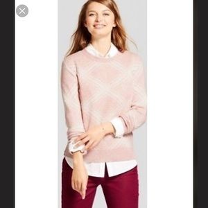 Soft pink & off white Argyle sweater